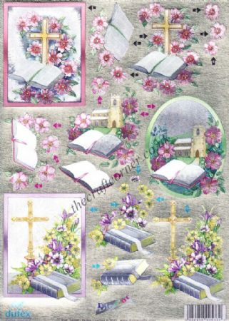 Bible & Flowers 3d Die Cut Decoupage Sheet From Dufex